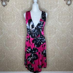 Bisou BIsou Pink & Black Floral Sleeveless Dress